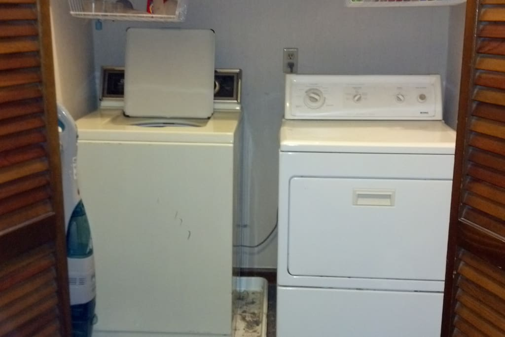 Here is a picture of the washer and dryer.  These upstairs and are available for you to use.