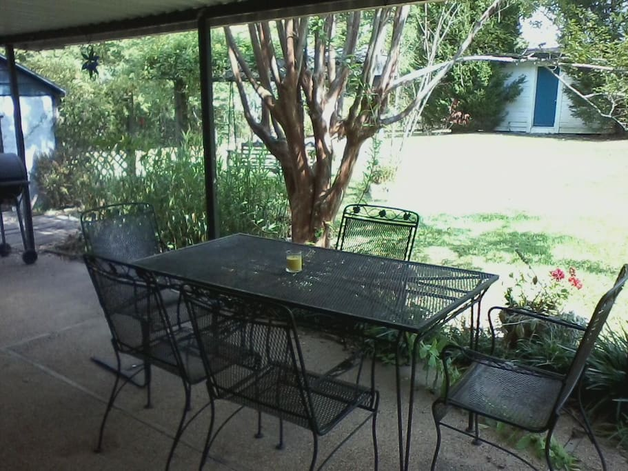 Lovely pasture views from covered patio seating.