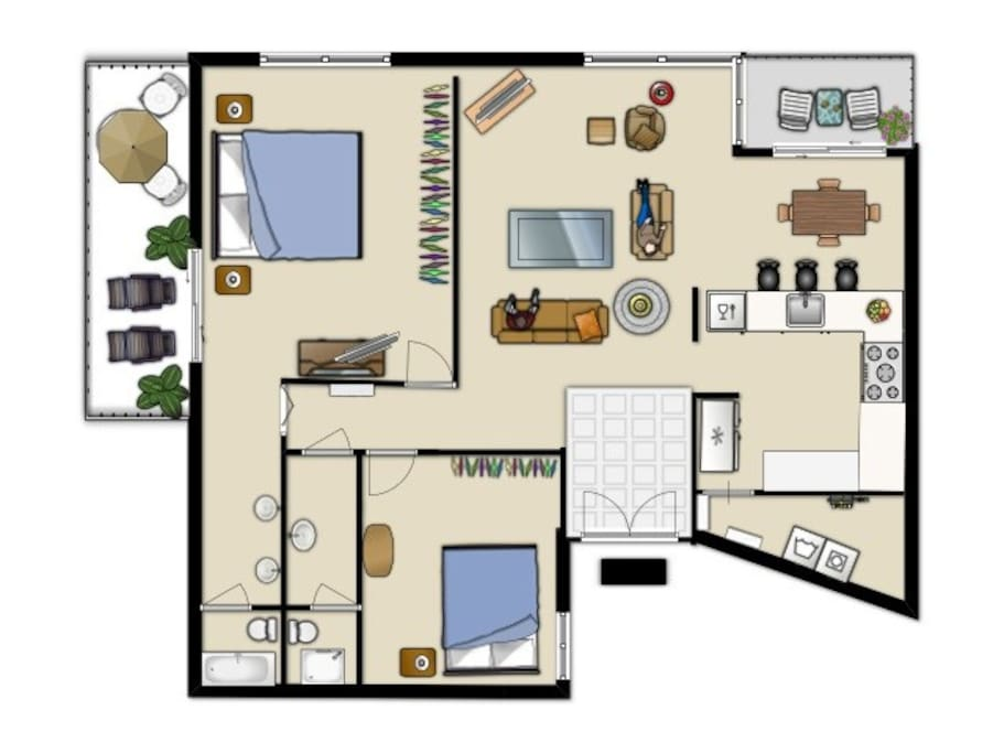 This is the floorplan of our unit with full washer and dryer and 1226 square feet