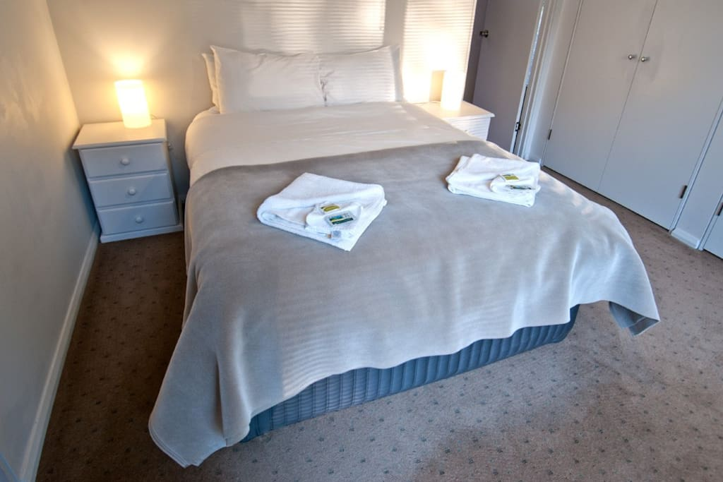 Queen size bed next to bathroom with shower & tub