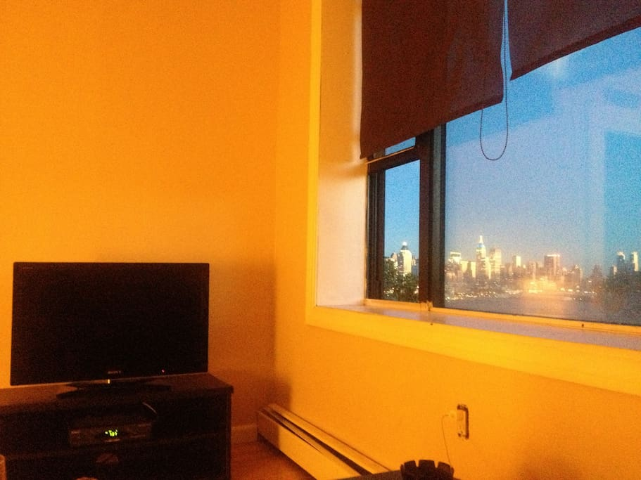 manhattan skyline from livingroom