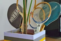collection of tennis rackets