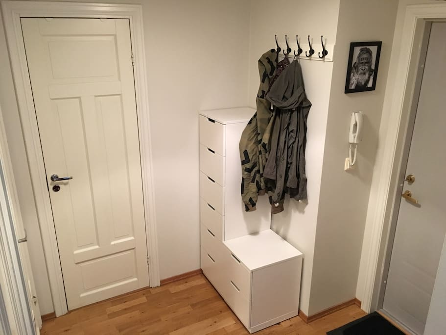 Space for jackets and storage for shoes.