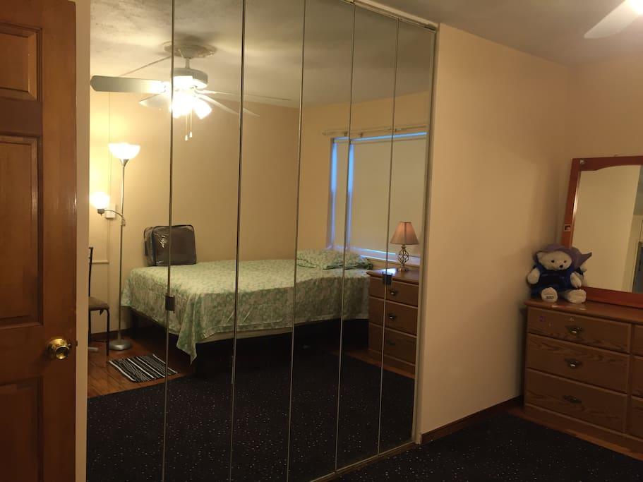 Left after entering large closets behind sliding/folding glass doors