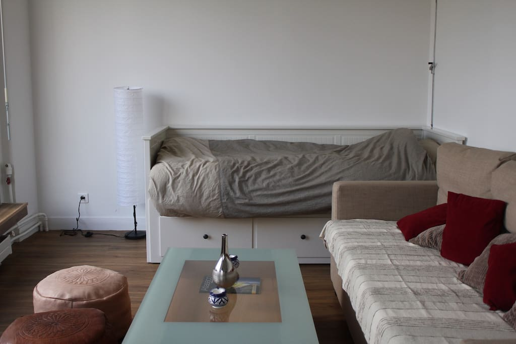 Bed and sofa area