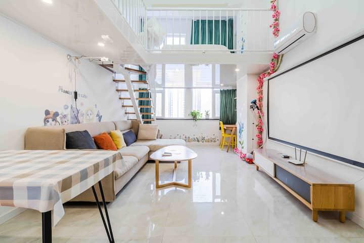 近泰华 复式 双大床双空调 可做饭 高清投影清新整洁