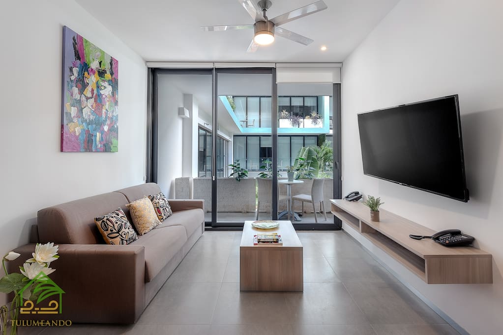 Comfortable sofa bed and Smart flat TV