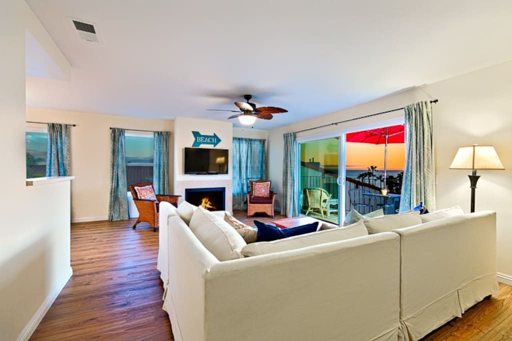 Ocean view and amazing sunsets from living room