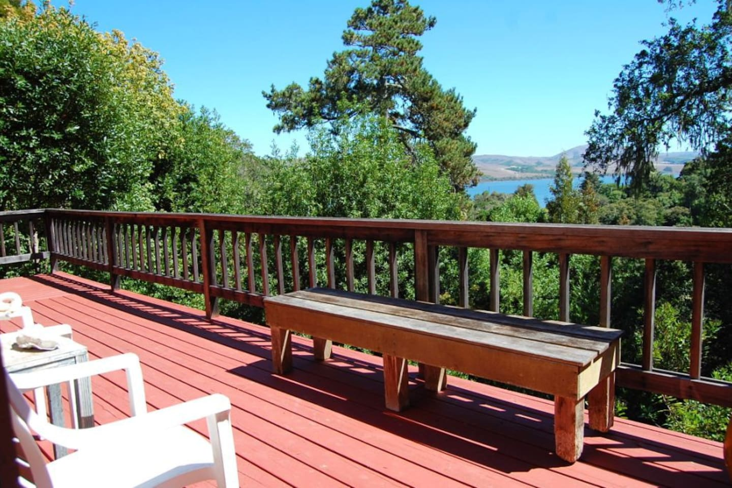 The sunny deck overlooks Tomales Bay