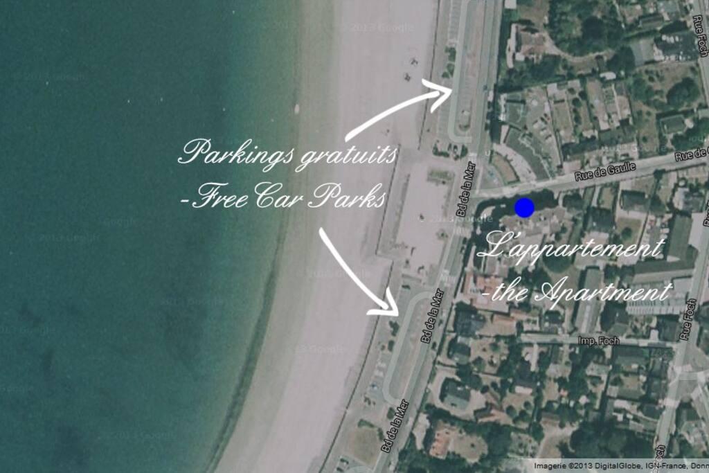 Parkings gratuits à proximité - free car parks nearby