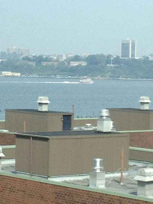 The view of the Hudson from my bed