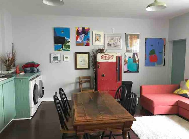 Quirky, artist in-law suite in hip neighborhood.