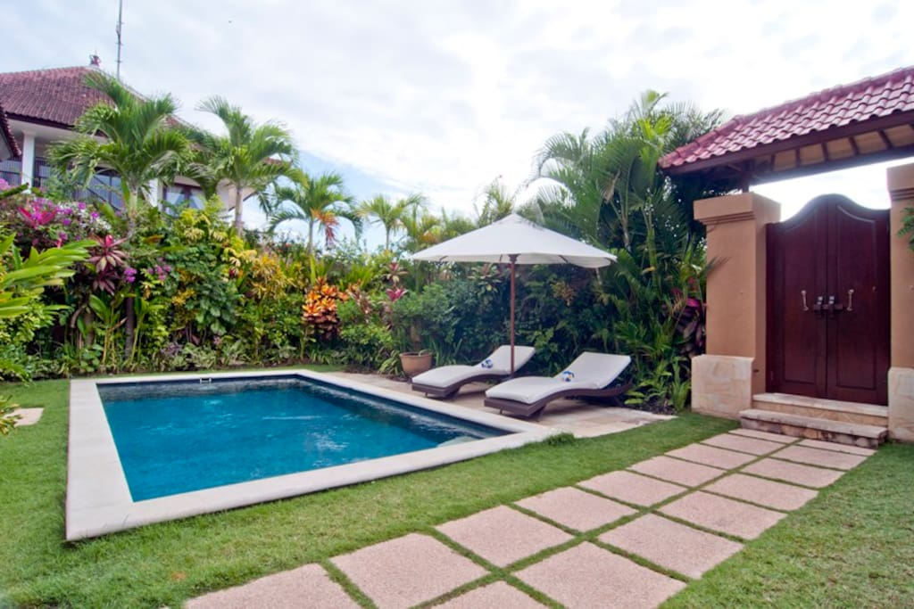 Private entrance to the villa, garden and pool. Sun-loungers (2) and relax chair are available.