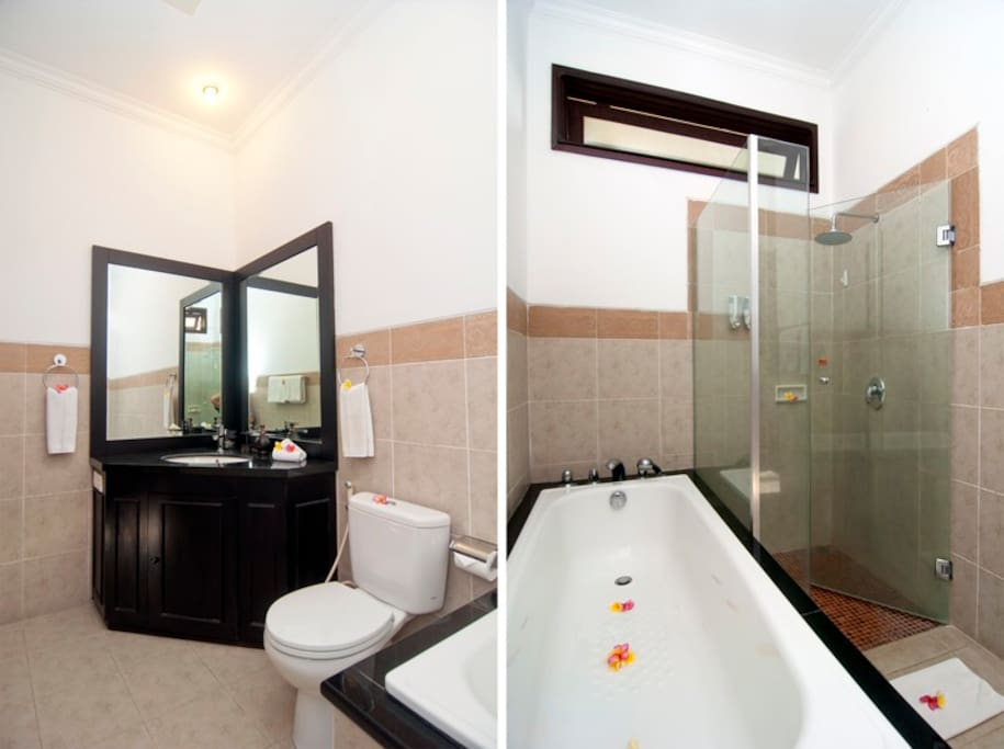Bath room I with cabinet, toilet, bath tub and shower. Soap and towels are provided.