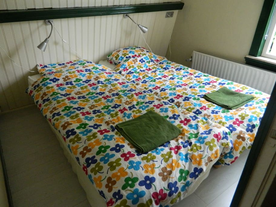 ROOM 1: The sleeping rooms are small, but the beds are comfortable. Here are the boxprings together...
