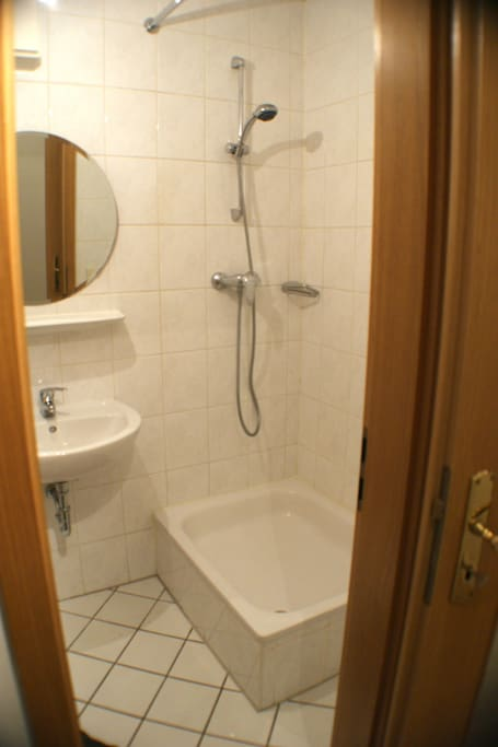 Just renovated shower. With central heated hot water.