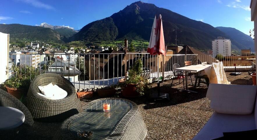 Privatzimmer mit Bergblick