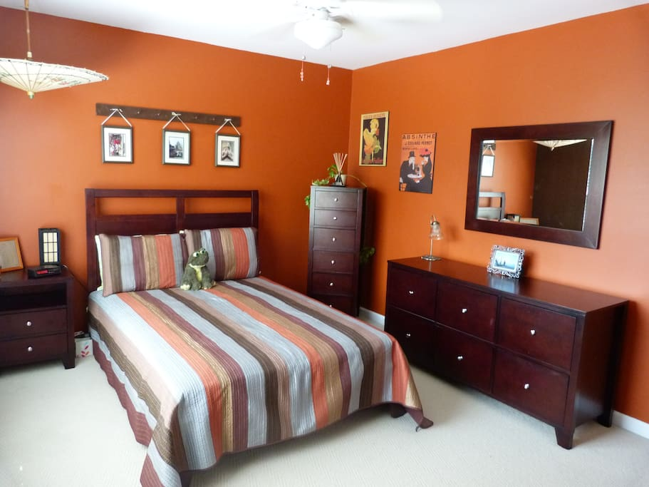 The master bedroom - bright and happy!!  (*stuffed frog not included)