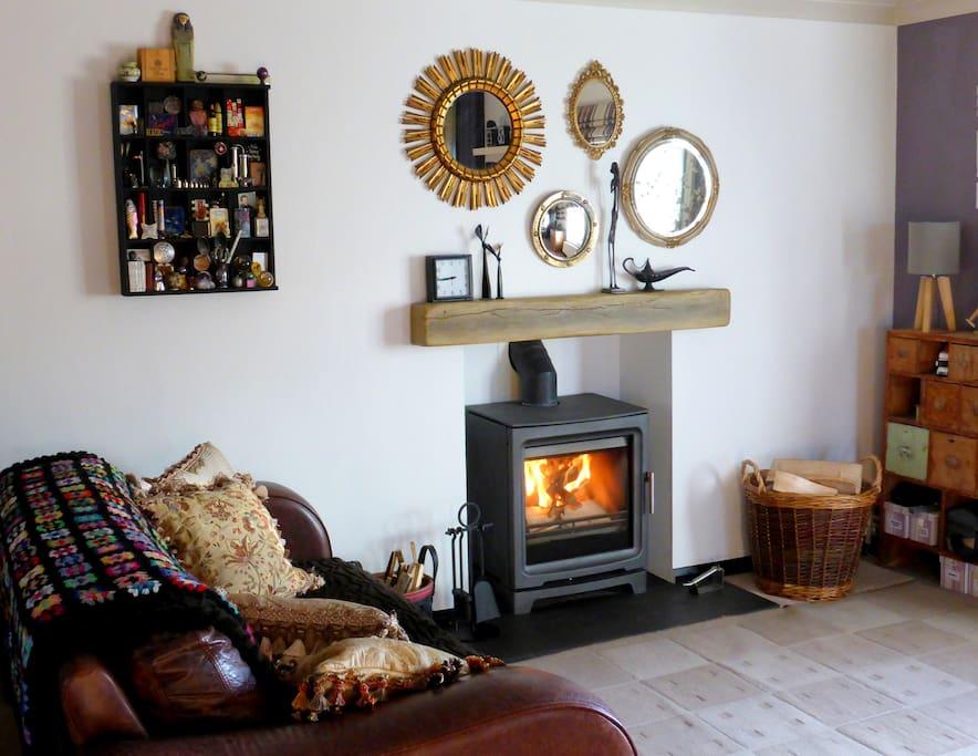 Real wood burning stove