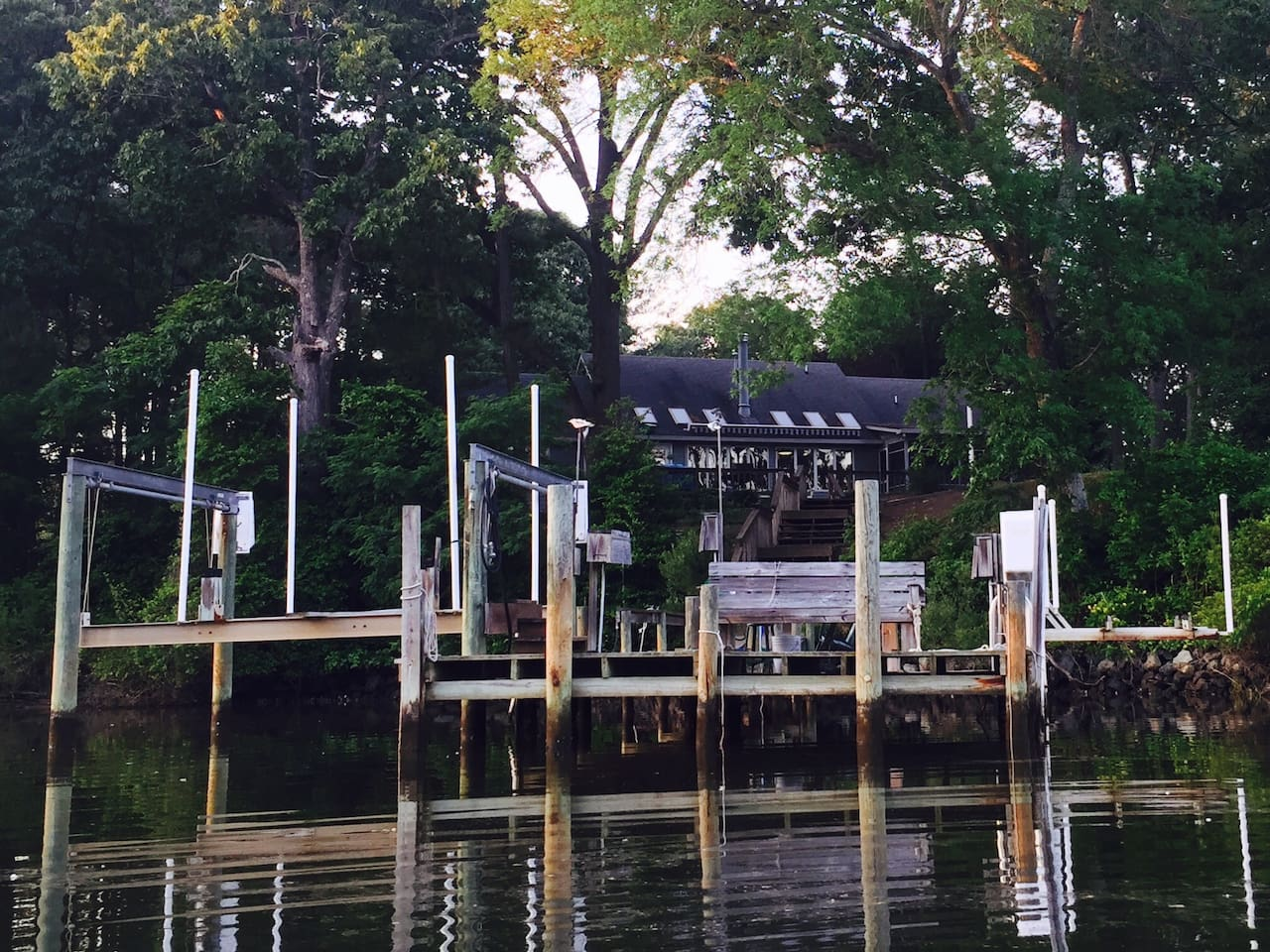From our kayak, here is a view from the water of our dock with our house in the background.