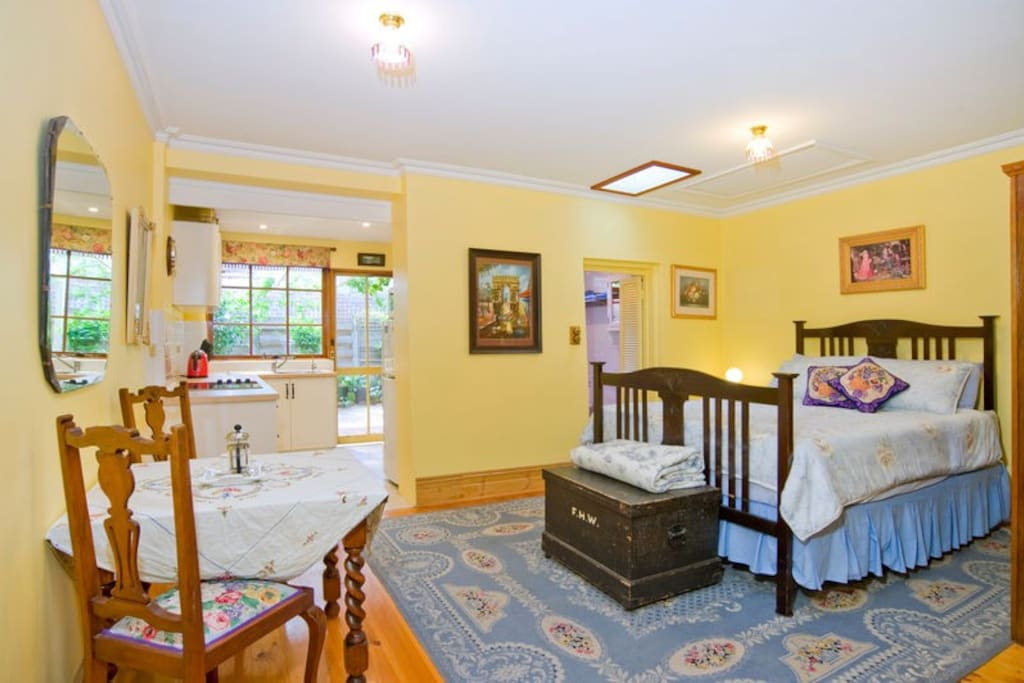 A very comfortable queensize bed and ensuite bathroom