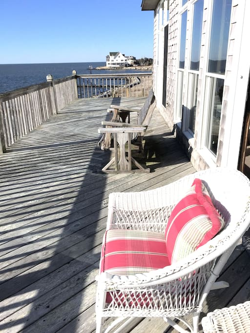 Kick back and relax on the deck with your family and friends and enjoy million dollar views of the water as far as the eye can see!