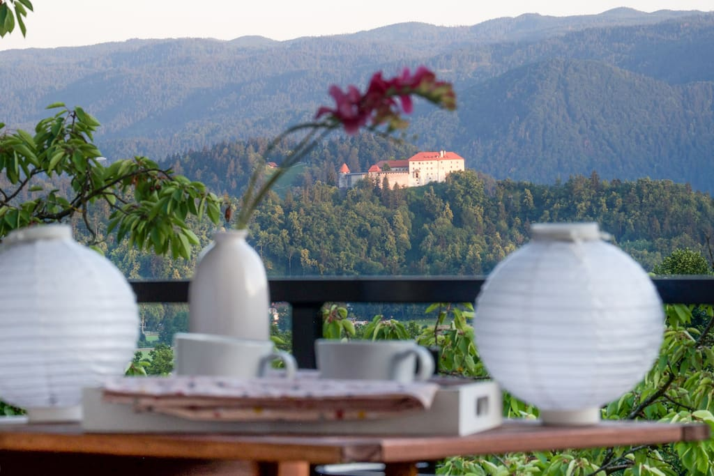 Coffee with a view! Magic Bled castle from your balcony