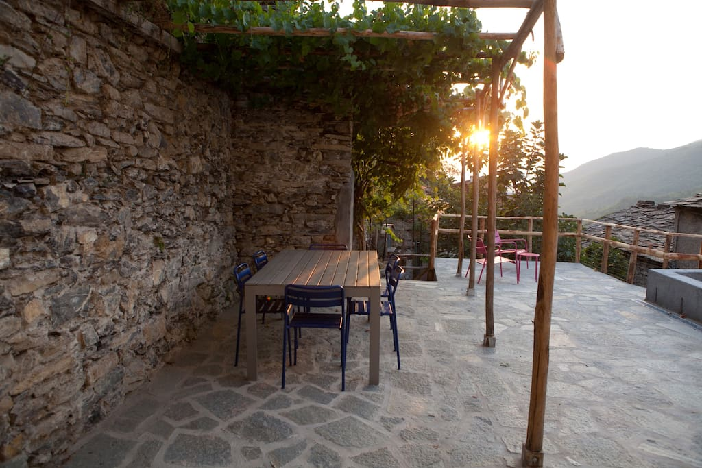 The table and chairs for 6 are shaded under a vine