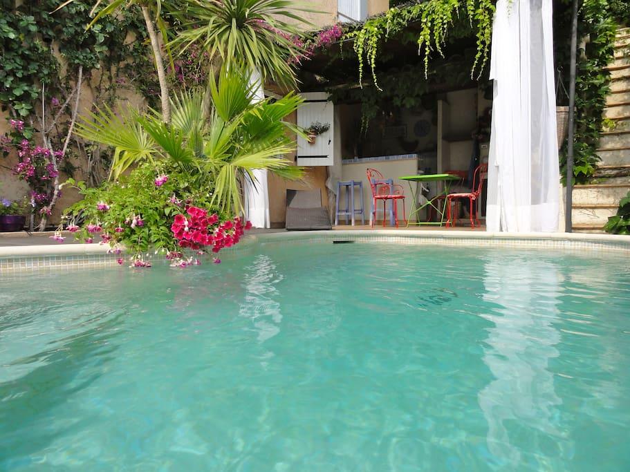Piscine privée,sécurisée avec son pool-house, barbecue, plancha.