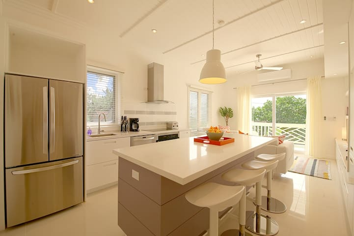 Stylish kitchen with stainless steel appliances