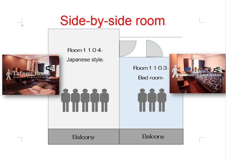 2部屋はそれぞれ、トイレ、お風呂(シャワー付き)キッチン、冷蔵庫、電子レンジ、電子ポット、エアコンなどをご用意しています。