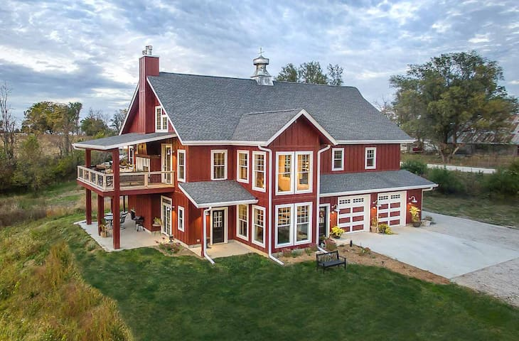 Two story barn. The 3 br home is all on the second floor.  Apartment is on the ground floor.