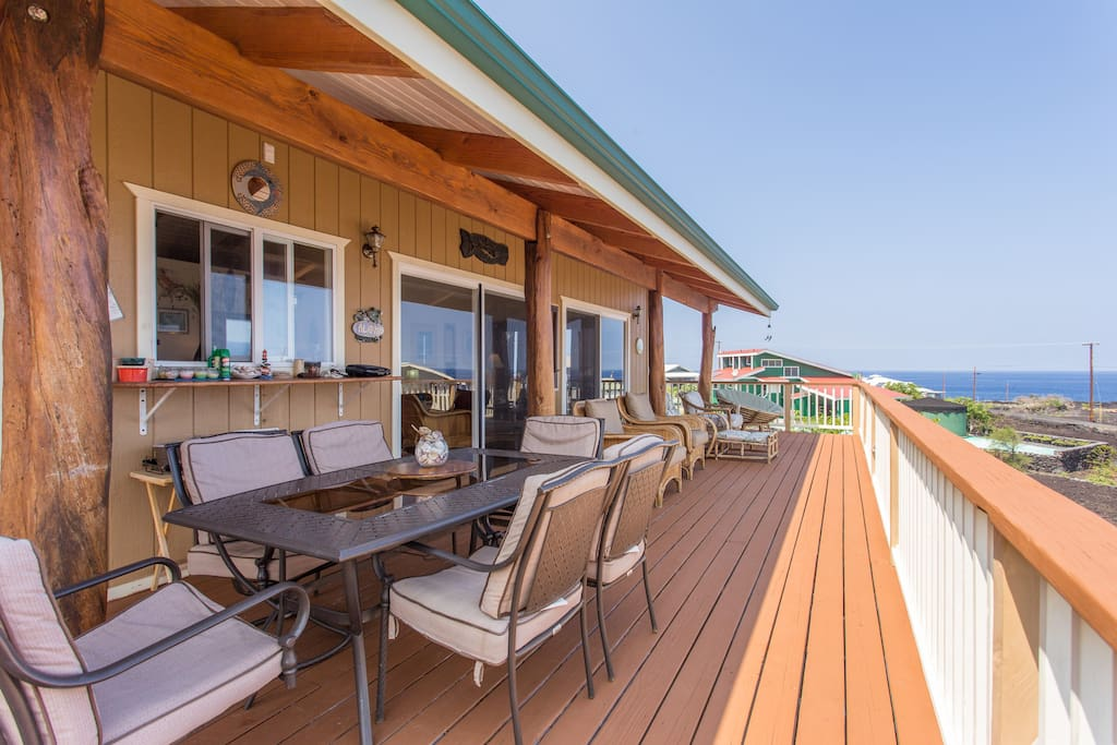 Deck is 600 feet big, has great patio furniture and has awesome ocean view. there's also a barbecue here.