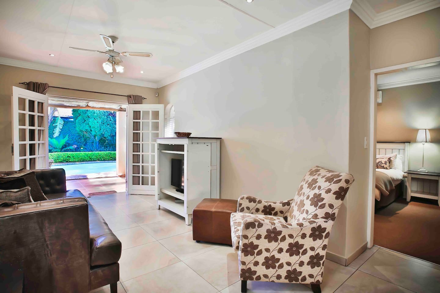 Private Lounge with full DSTV leading to the bedroom.