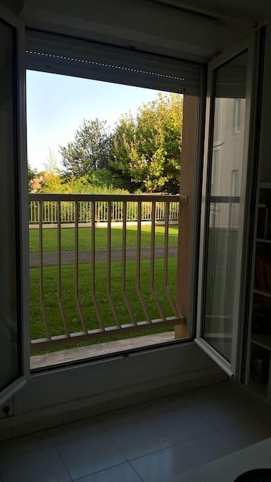 Fenêtres donnant sur jardin fermé de la résidence