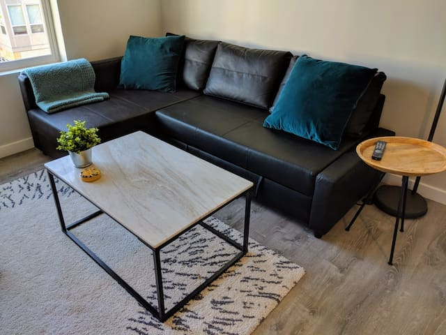Queen-sized sofabed in living room