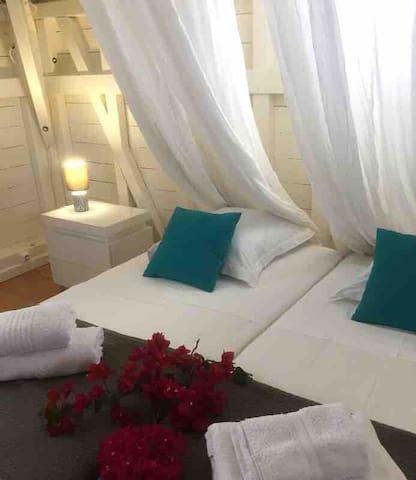 Chambre 3 à l'étage (2 lits de 90*200 - rapprochables à la demande) salle de douche à l'italienne attenante + WC.