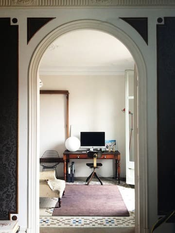 VIEW INTO BEDROOM WITH WRITING DESK