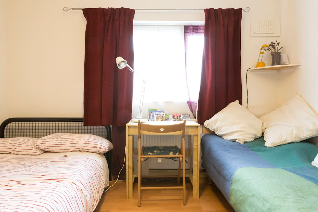 double bedroom with small double and single bed shown