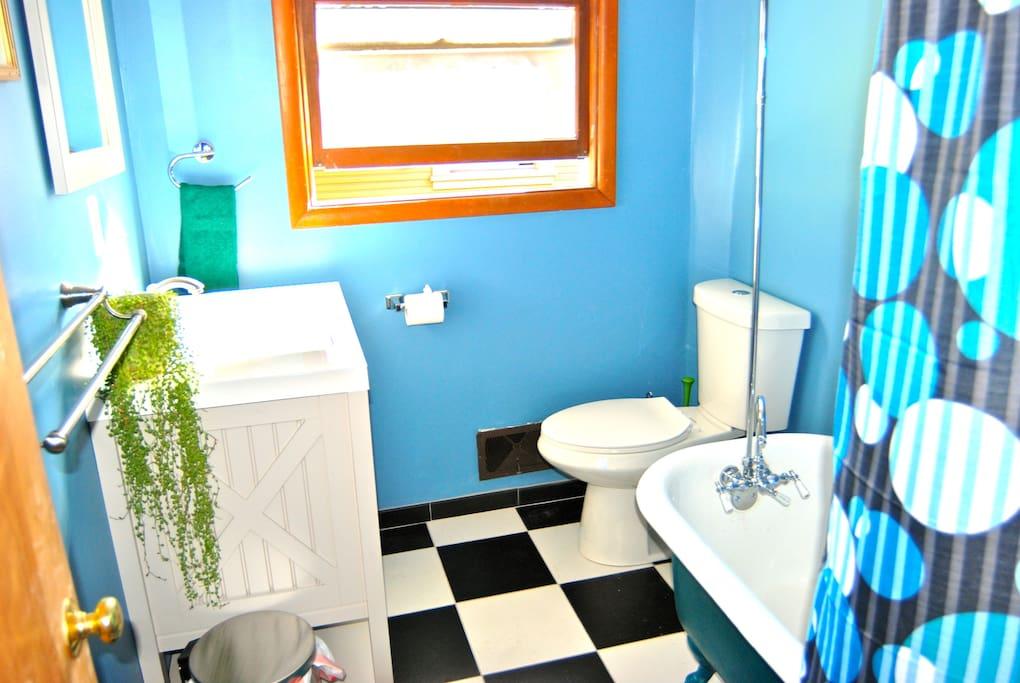 Brand new bathroom with vintage claw foot tub.