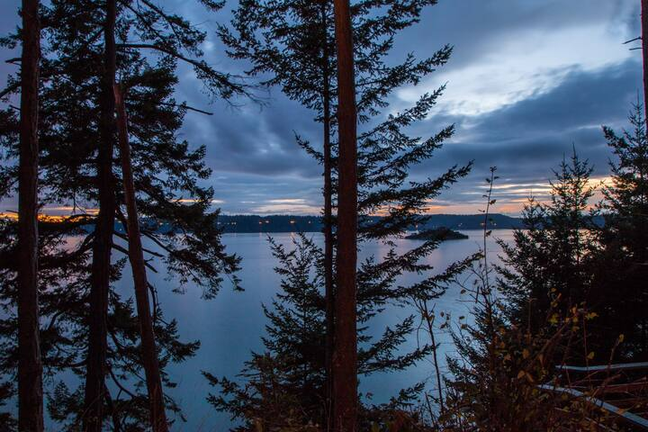 Sunset from the Cabin - Skagit Bay and Whidbey Island. The small island is Little Deadman Island
