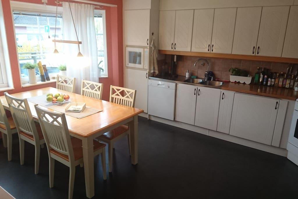 Stort kök med gott om plats. Grill och wok finns utanför fönstret.