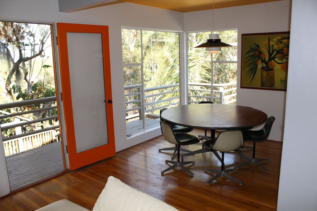 Eat, play games, or just gaze out the window -- this dining nook is a special spot!