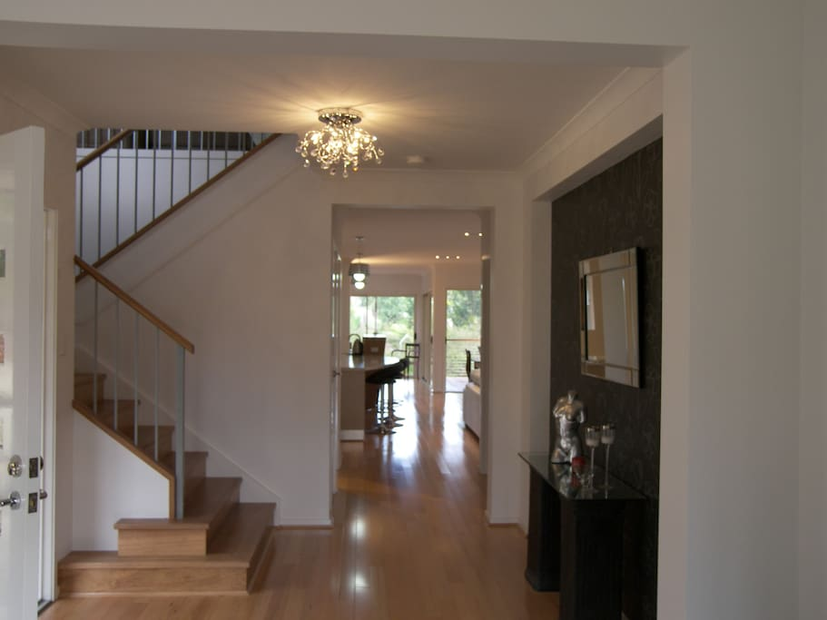 Entrance, leading to reading room and kitchen/living areas