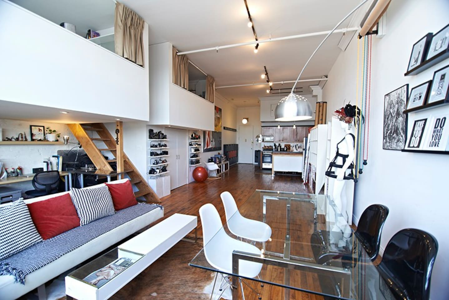 2 mezzanine bedrooms upstairs, dining and lounger area, kitchen on the back