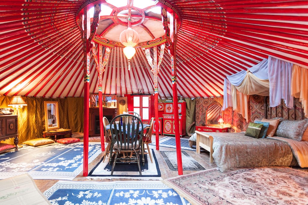 Enter the spacious, well appointed yurt.