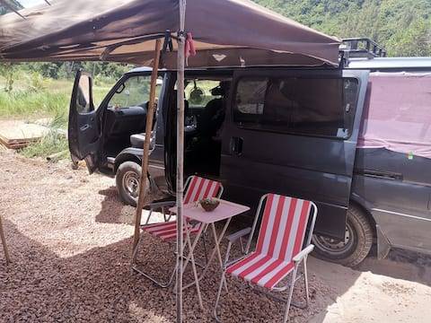 Small Camping Van on the beach