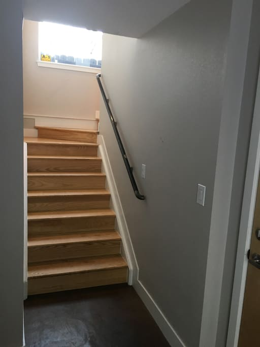 First staircase up to main level