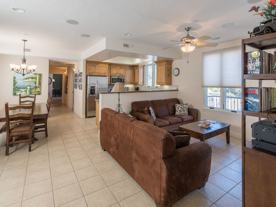 "Enjoy the 47"" flat screen TV and complimentary Wi-Fi in the bright living room."
