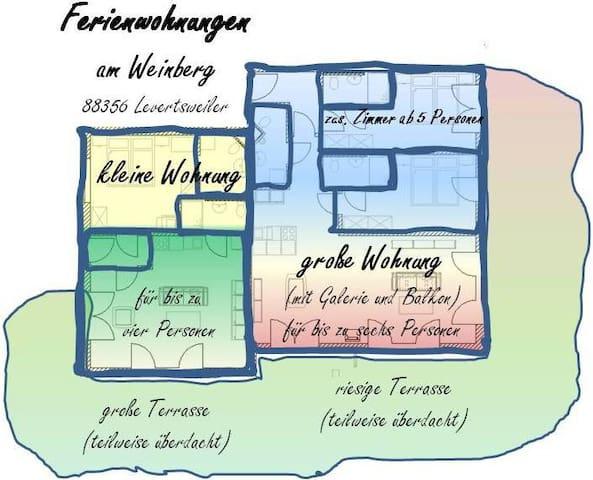 Ferienwohnungen am Weinberg, (Ostrach), Die kleine Ferienwohnung, 50qm, 1 Schlafzimmer, max. 2 Personen